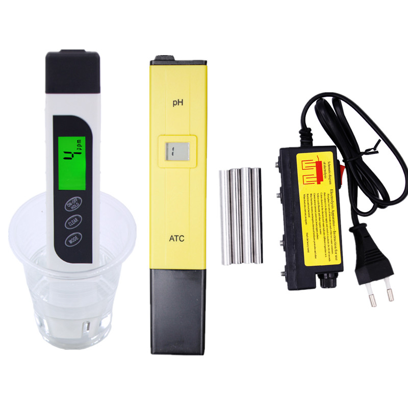 LCD Digital TDS EC PPM Water Quality Tester + PH Meter Pen + electrolyzer electrolysis Use for Aquarium Pool Hydroponics 49%OFF