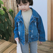 Children Denim Jackets Spring Autumn Boys and Girls Hole Ripped Coat Kids Outwear Ribbon Toddler Coats Baby 18M-6T