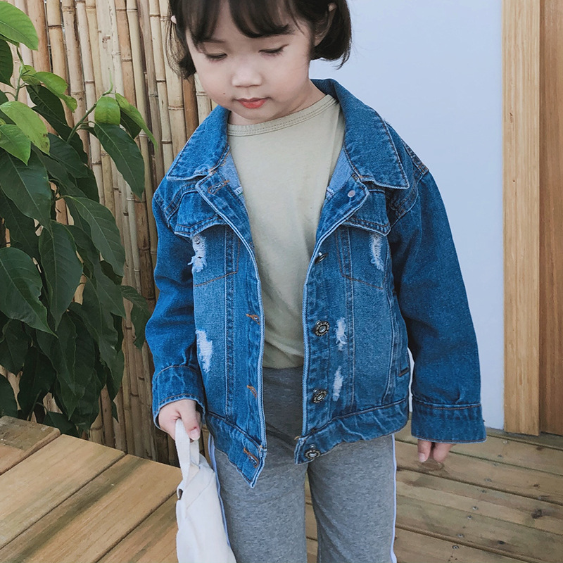 Children Denim Jackets Spring Autumn Boys and Girls Hole Ripped Coat Kids Outwear Ribbon Toddler Denim Coats Baby Jackets 18M 6T