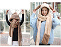 Parent child Cute Rabbir ear style Winter Warmer Faux Hoodie Gloves Pocket Earflap Hat Scarf Shawl Hats Gloves Sets
