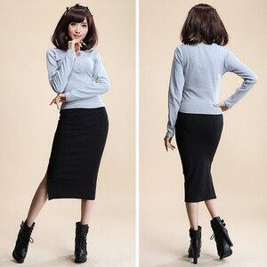 Image 3 - 2016 Autumn Winter Women Skirt Wool Rib Knit Long Skirt Faldas Package Hip Split Skirts  D919