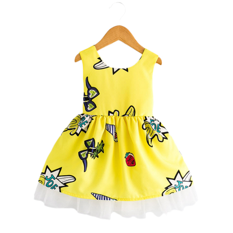 Kids Girls Cartoon Dresses Sleeveless Backless 2018 New Arrival Summer Dress Cute Girls Clothing For 3-8Y Yellow Red GD174