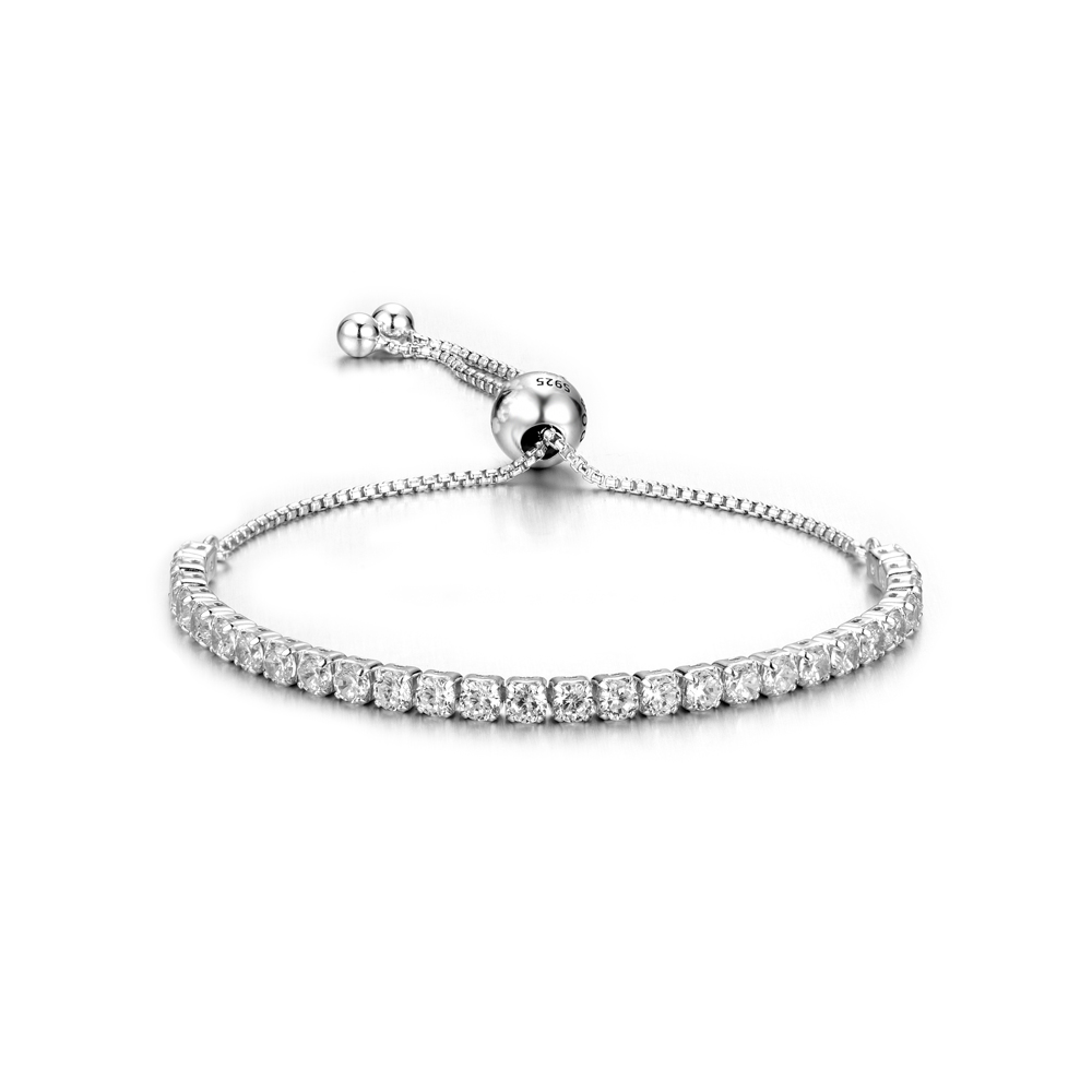 ZTUNG PDB1 sterling silver adjustment bracelet with white and pink stone for gift for women fine jewelry