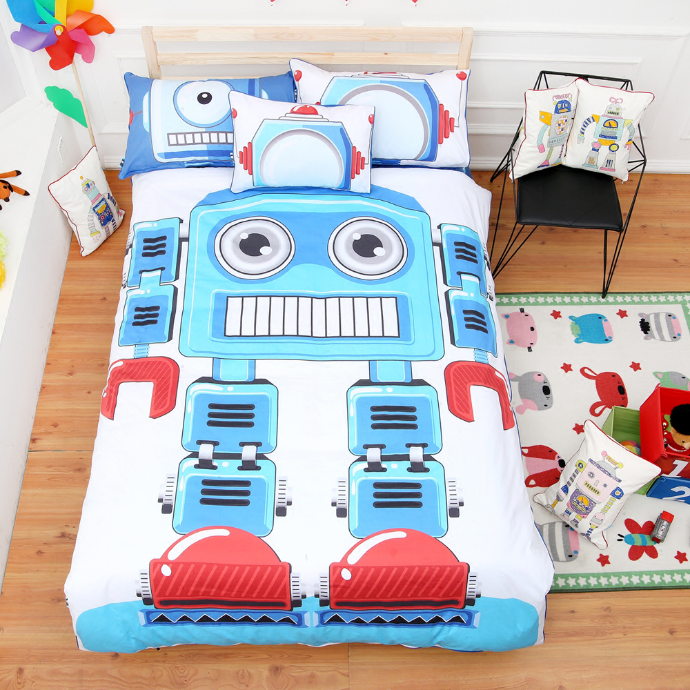 Cute Children S Room Cartoon Robot Pattern Blue Duvet Cover Sheet Set 100 Cotton Reactive Dyeing Bedding In Sets From Home Garden On