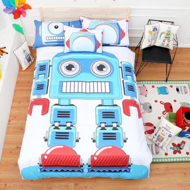 Cute Children S Room Cartoon Robot Pattern Blue Duvet Cover Sheet Set 100 Cotton Reactive Dyeing
