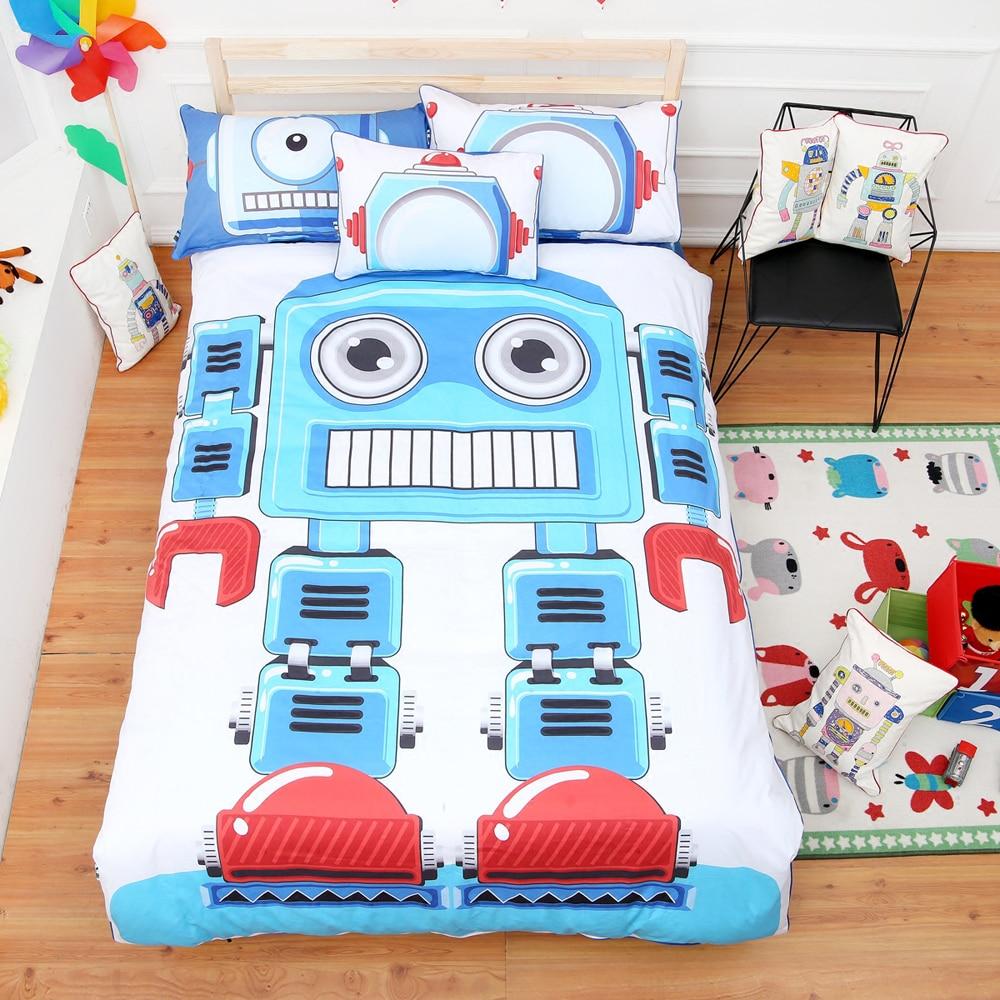 popular robot beddingbuy cheap robot bedding lots from china  - cute children's room cartoon robot pattern blue duvet cover sheet set cotton reactive dyeing