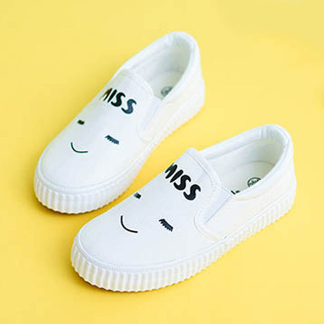 2017 Smile Toddler Canvas Shoes Slip on Infant Girls Canvas Shoes For Casual Baby Girl Smile First walkers Unisex