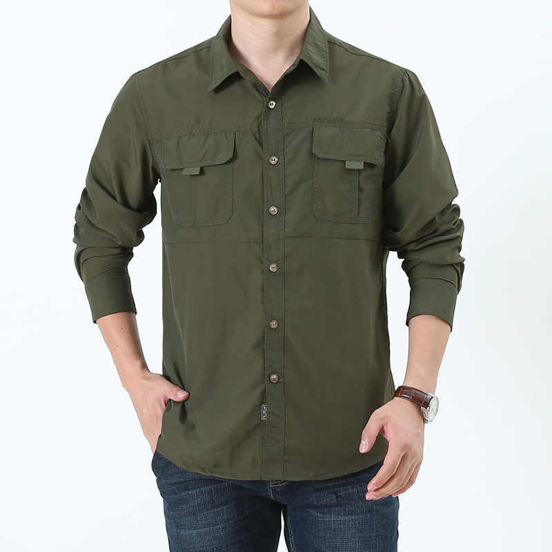 3e98fe517756 QUICK DRY spring summer autumn work clothes Men s casual long sleeve shirts  with pockets safari style