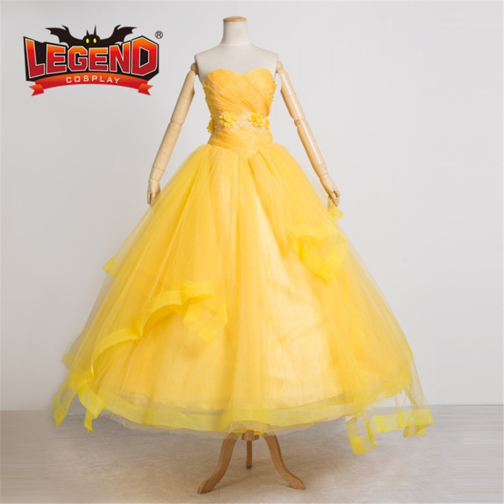 Movie Beauty And The Beast Princess Belle yellow Dress Ball gown Cosplay Costume adult girls kids dress custom made