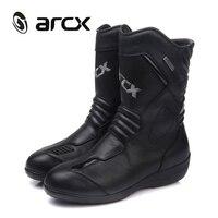 ARCX Women Motorcycle Boots Genuine Cow Leather Waterproof Moto Racing Boots Motorcross Boots Black Motorbike Boots