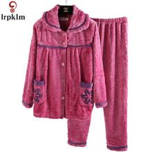 Autumn Winter Flannel Pajamas Suit 2017 New Large iSze Ladies Pajamas Thick Coral Cashmere Long Sleeve