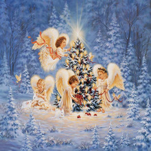 Christmas little Angels 5D Diamond Painting round Cross Stitch Craft  Embroidery Mosaic pattern DIY handmade decoration naiyue j626 2 two angels print draw 5d diamond painting diamond embroidery
