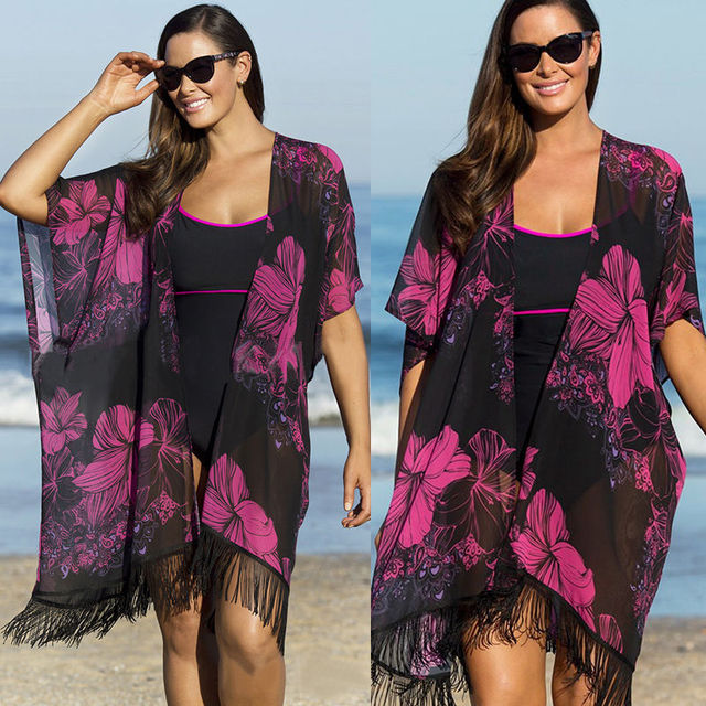 92858e272878c Plus Size Women Print Tassel Swimsuit Beach Cover Up Summer Sunscreen  Cardigan Blouse Shirt Bathing Suit Swimwear Saida De Praia