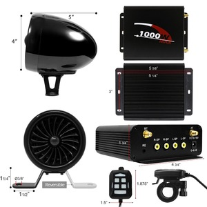 Image 3 - Aileap 1000W מגבר Bluetooth אופנוע סטריאו 4 רמקולים MP3 אודיו FM רדיו מערכת עבור אופנועים/טרקטורונים/UTV /סירת (שחור)