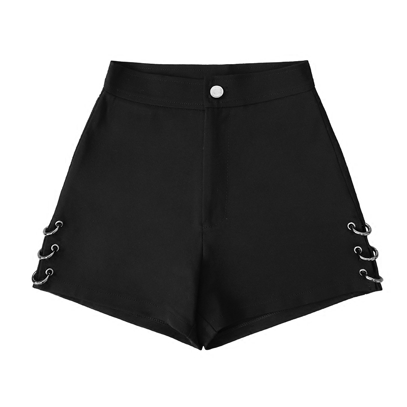 Summer Black split   Shorts   For Women Loose Rings decoration Fashion   Shorts   Female