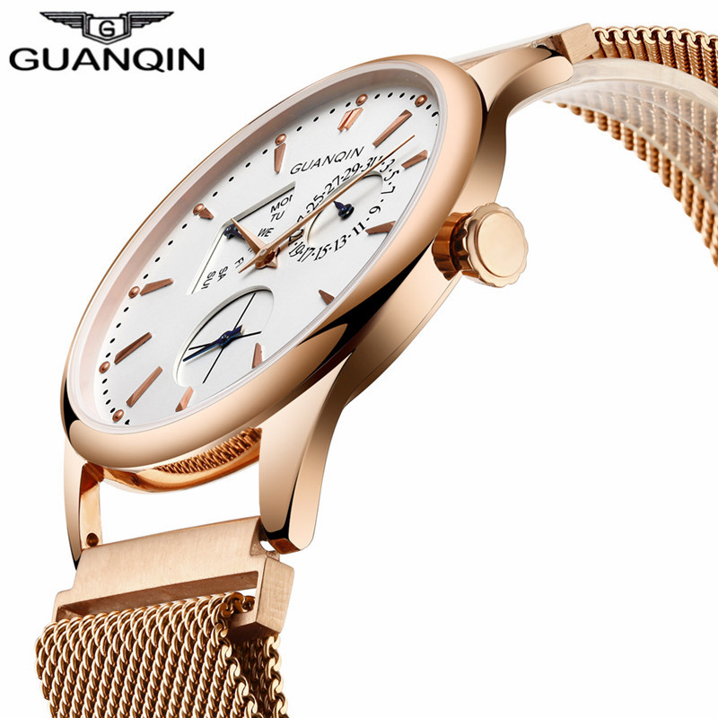 2017 GUANQIN Fashion Mens Watches Top Brand Luxury Day Date Stainless Steel Quartz Watch Men Waterproof Male Clock Reloj Hombre men watches top brand luxury day date luminous hours clock male black stainless steel casual quartz watch men sports wristwatch