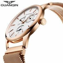 2017 moda guanqin mens relojes de primeras marcas de lujo día fecha hombres reloj masculino impermeable reloj de cuarzo de acero inoxidable reloj hombre