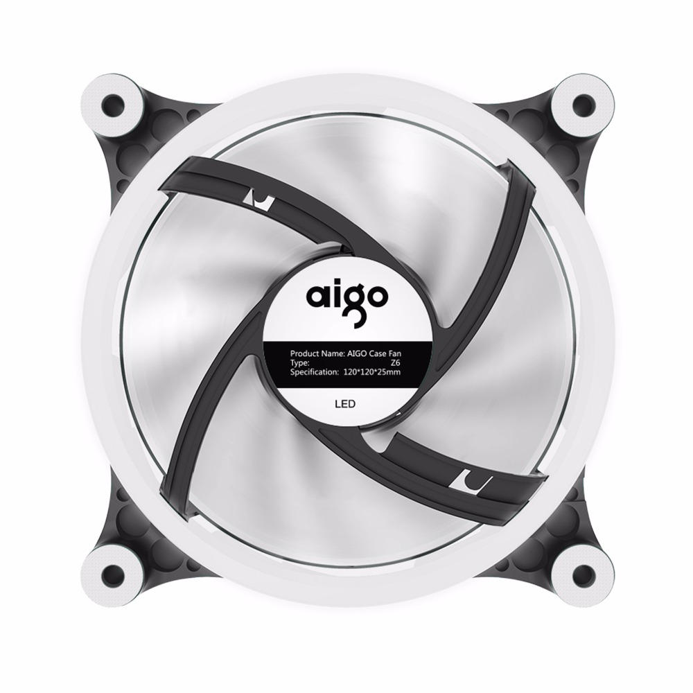 Buy Aigo Z6 Pc Case 120mm Computer Cpu Cooling Fans Installing Electric Fan On A C3 Radiator Cooler Heatsink Led Quiet High Airflow 12v Colorful Lightning From