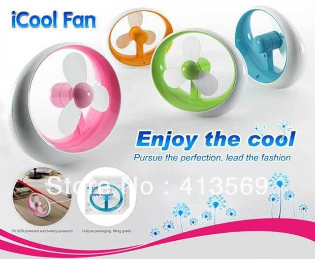 DHL Free Shipping mini iCool fan,usb and battery amphibious fan
