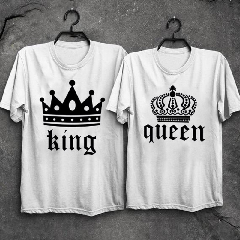 New King Queen T shirt Couple Men Women Imperial Crown Printed vogue Lovers Tees Summer T-shirt 2019 Casual O-neck Tops Tee