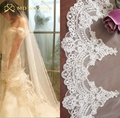 Real Photos 2015 2M White/Ivory Beautiful Cathedral Length Lace Edge Wedding Bridal Veil With Comb Wedding Accessories MD3074