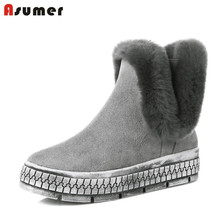 Movement cow suede platform unique college warm well ankle boots with fur casual girls sweet winter women shoes