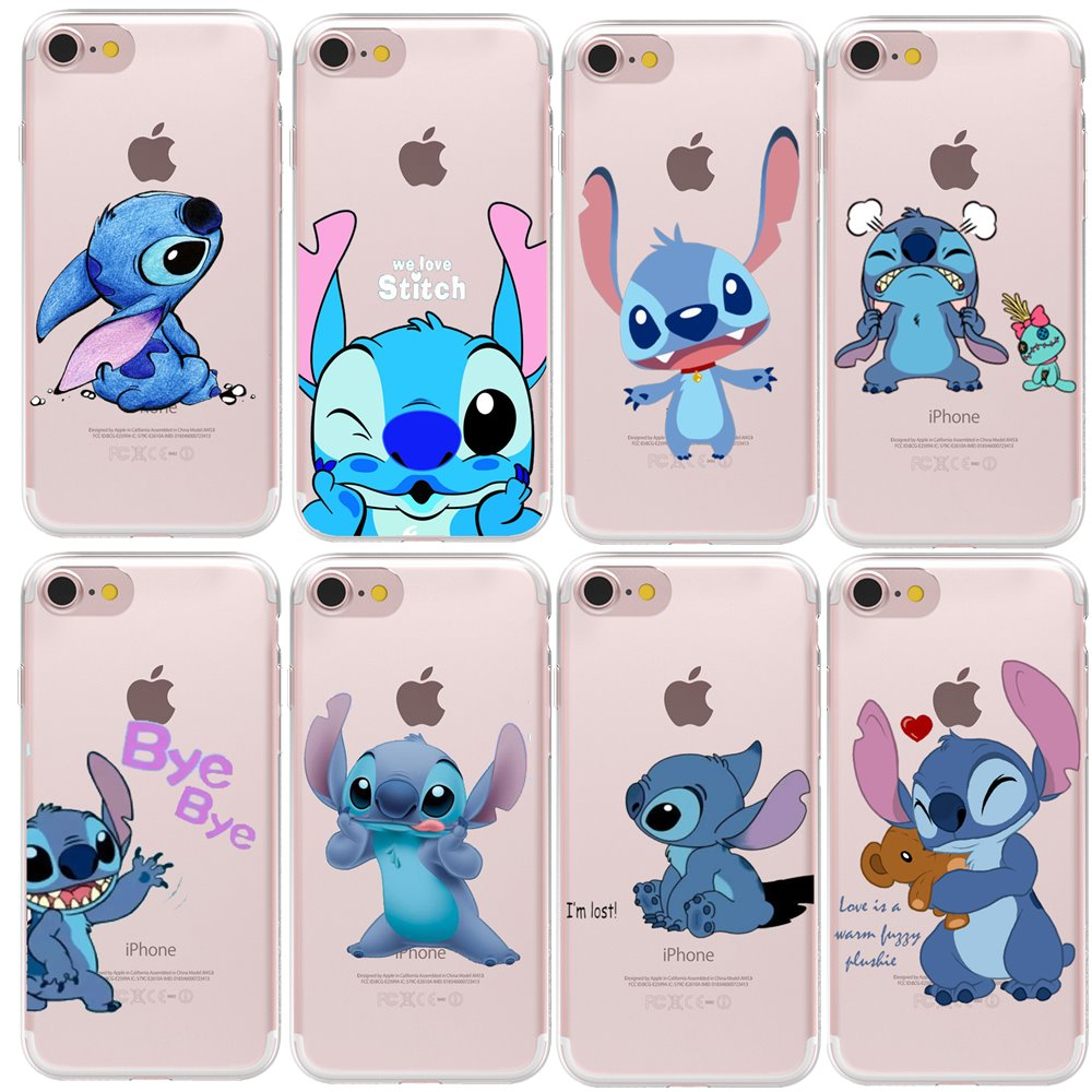 RUICCASE Soft TPU Gel Silicon Funny Cute Stitch Cartoon Case Cover For Apple iPhone 8 X 7 6 Plus 5 5S SE Transparent Phone Cases