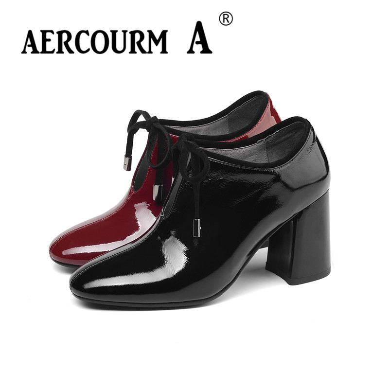 Aercourm A 2019 femmes chaussures à lacets peau brillante dame chaussures en cuir verni carré talon haut pompes nouveau printemps noir vin-rouge chaussures