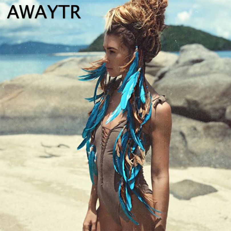 AWAYTR האופנה Boho סגנון נוצה בגימור הפאה חרוזים נוצת כיסוי ראש בעבודת יד בנות שיער אביזרים באיכות גבוהה