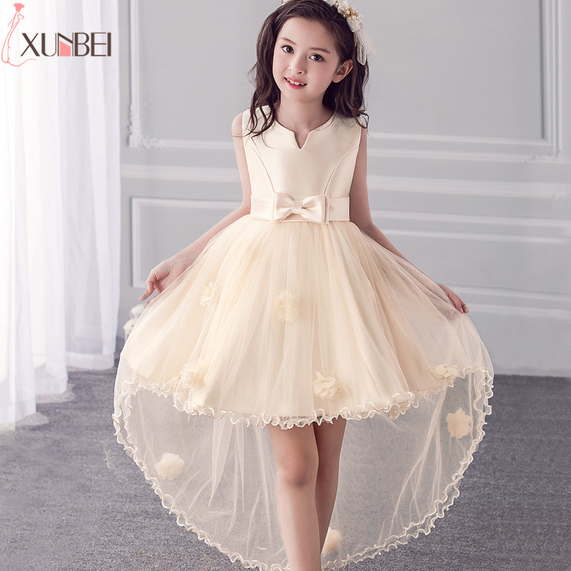 Hot sale High Low Satin   Flower     Girl     Dresses   2018 Applique Communion   Dresses   For   Girl   Kids Prom   Dresses   robe enfant fille mariage