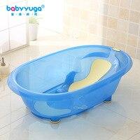 Blue baby bathtub newborn baby bathtub large children's bath barrel thicker skid can sit lie