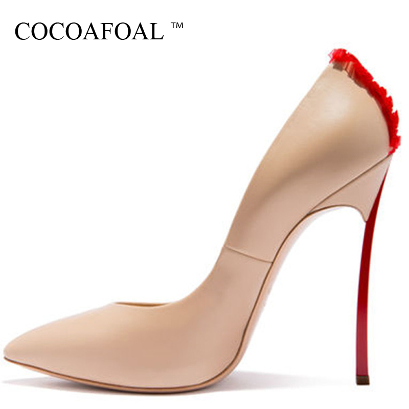 COCOAFOAL Woman Plus Size 33 43 High Heels Shoes Sexy White Apricot Valentine Shoes Metal Decoration Pointed Toe Wedding Pumps