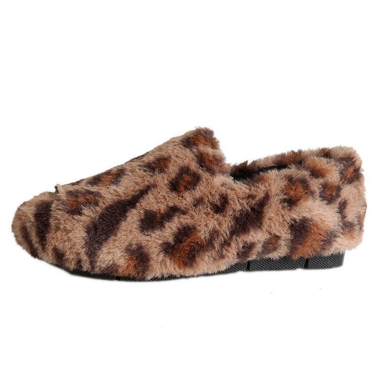 Peluche Fl84 Femmes De Mujer Chaussures Aleafalling Zapatos Smart Beige Glissement D'hiver noir Respirant Sur kaki leopard Courte Confortable Fille Plat Troupeau BfqPa8qw