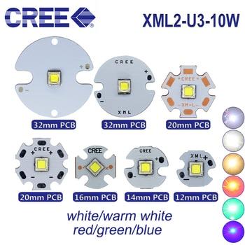 10 Pcs Cree XML2 XM-L2 U3 10 W LED TINGGI DAYA LED Chip Dioda 3.7 V Putih 6500 K 5000 K Hangat Putih Emissor Tembaga 20 Mm PCB Para DIY