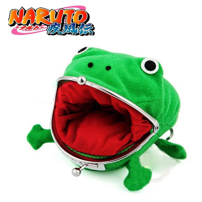 Hokage Ninjia Naruto Frog Coin Purse Cosplay Props Frog Wallet Anime Cartoon Manga Flannel Coin Holder Cute Animal