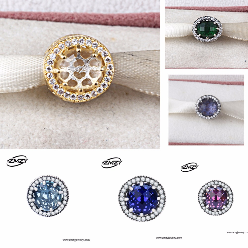 ZMZY Authentic 925 Sterling Silver Charm Royal Purple Crystal and Clear cubic zirconia Bead Fits Pandora Charms Bracelet 9 Color