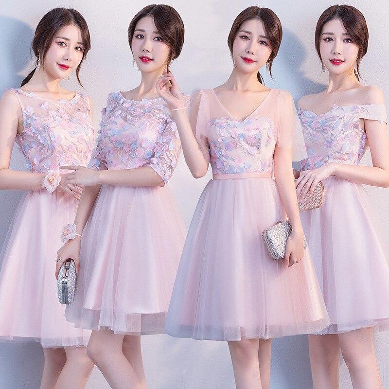 2019 New Short Vestidos De Festa Pink A Line   Bridesmaid     Dresses   Appliques Wedding Guest Formal Gown Robe Demoiselle D'honneur