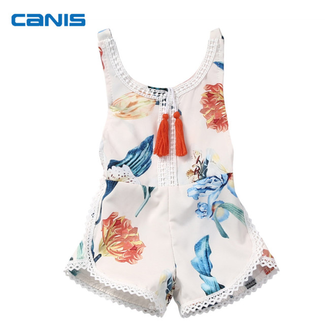 35553396072a 2018 Summer Fashion Cute Newborn Baby Girls Kids Clothes Sleeveless Tassels  Romper Jumpsuit Cotton Sunsuit Beach Outfit Clothing