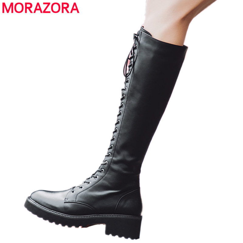 MORAZORA 2018 new fashion knee high boots women lace up +zipper genuine leather boots round toe autumn winter shoes woman