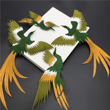 (1set 4 pcs) bird iron on adhesiver Phoenix bird combination embroidery  lace cloth paste fabric applique patch DIY clothing part 967479ea6f15
