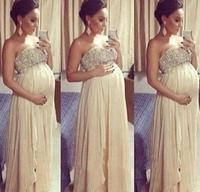 Free Shipping Chiffon A Line Strapless Long Elegant Evening Dresses For Pregnant Women Beaded Sweetheart Maternity
