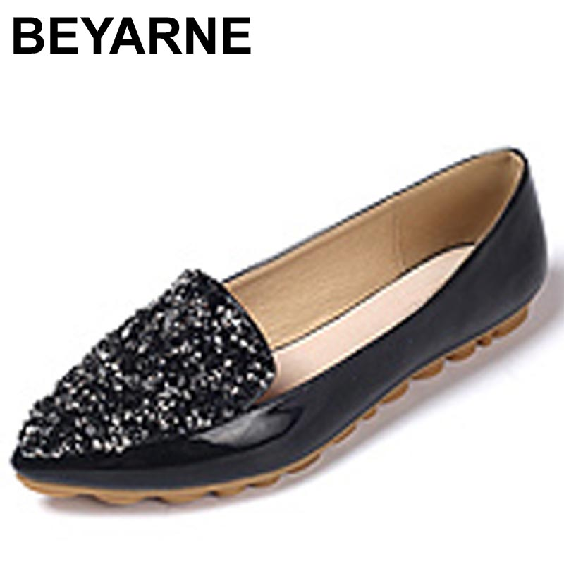 BEYARNE Spring Autumn Fashion Women Shoes Pointed Toe Slip-On Flat Shoes Woman Comfortable Single Casual Flats Size EU 34-43 2017 fashion women shoes woman flats high quality casual comfortable pointed toe rubber women flat shoes plus size 35 42 s097