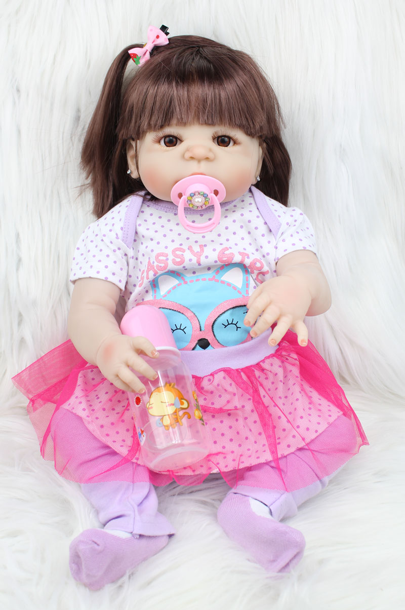 55cm Full Body Silicone Reborn Baby Doll Girl Earrings Lifelike 22inch Vinyl Bebe Newborn Babies Waterproof Toy Birthday Gift