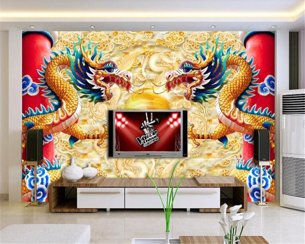 Us 885 41 Offbeibehang Advanced Fashion Personality Double Dragon Play Bead Chinese Style Wallpaper Mural Tv Background Papel De Parede In