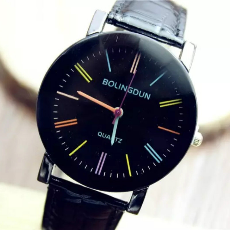 New Ladies Watches Quartz PU Leather Colorful Number Wristwatch For Women Men Gift