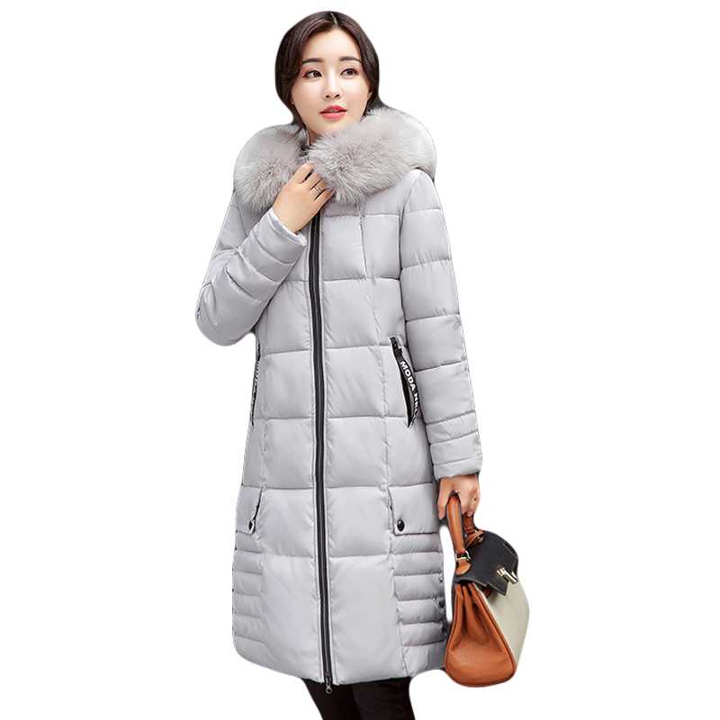 Winter New Fashion Women Down Cotton Jacket Heavy Fur Collar Super Warm Thickening Coat Big Yards Slim Medium-long Parkas CM1379