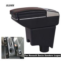 Armrest box For Renault Dacia Sandero Logan USB Charging heighten Double layer central Store content ashtray in car accessories