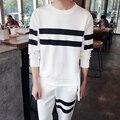 2017 Mens Listrado Hoodies & Camisolas Suor Terno (Paletó + calça) Roupas de Marca Jaquetas Fatos de Treino Sportswear dos homens Hoodies Definir