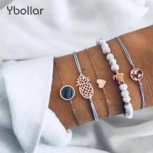 5pcs/set Turtle Gold Chain Heart Map Pineapple Beaded Bracelet Multilayer Set Women Fashion Bohemian Jewelry Gift