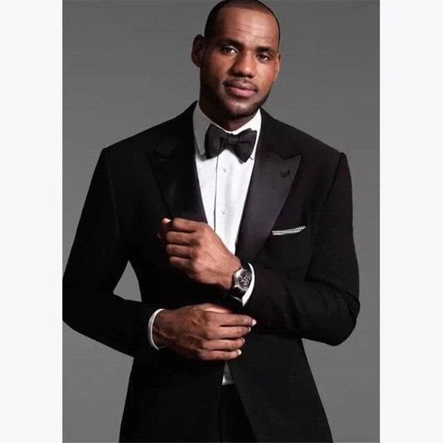 2018 Classic Smoking 2 Pieces Black Slim Fit Business Suit Men